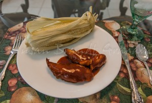 Chicken and solar cooked corn